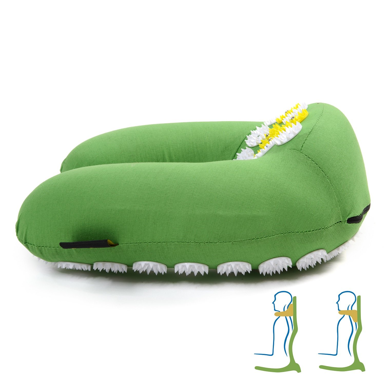 ZenGuru Best Acupressure U-Shaped Neck Pillow - Sale - Effective Remedy for Neck & Shoulders Pain and Stress Relief - with Magnet Therapy - Lifetime Money Back (Green)