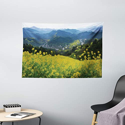Ambesonne Nature Tapestry, Flower Meadow Over The Village Mountains in a Row Grass Fresh Field Photo Print, Wide Wall Hanging for Bedroom Living Room Dorm, 60 X 40 , Yellow Green