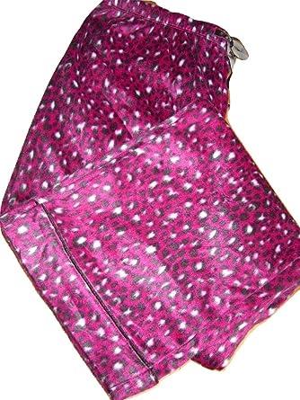 44616f6fd505 Carole Hochman Fleece Pyjama Set Medium UK10   12 Burgundy Leopard Animal  Print Elasticated Waist Pants Button Up Top  Amazon.co.uk  Clothing