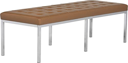 Studio Designs Home 60 Wide Lintel Tufted Bench Ottoman in Caramel Brown Bonded Leather and Chrome Metal