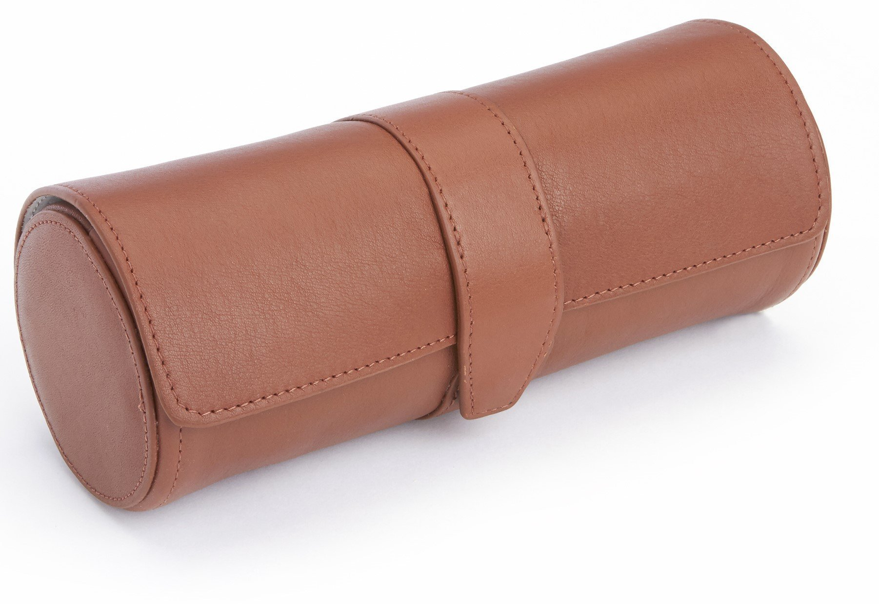 ROYCE Suede Lined Luxury Travel Watch Wall Storage, Handcrafted in Genuine Leather - Tan