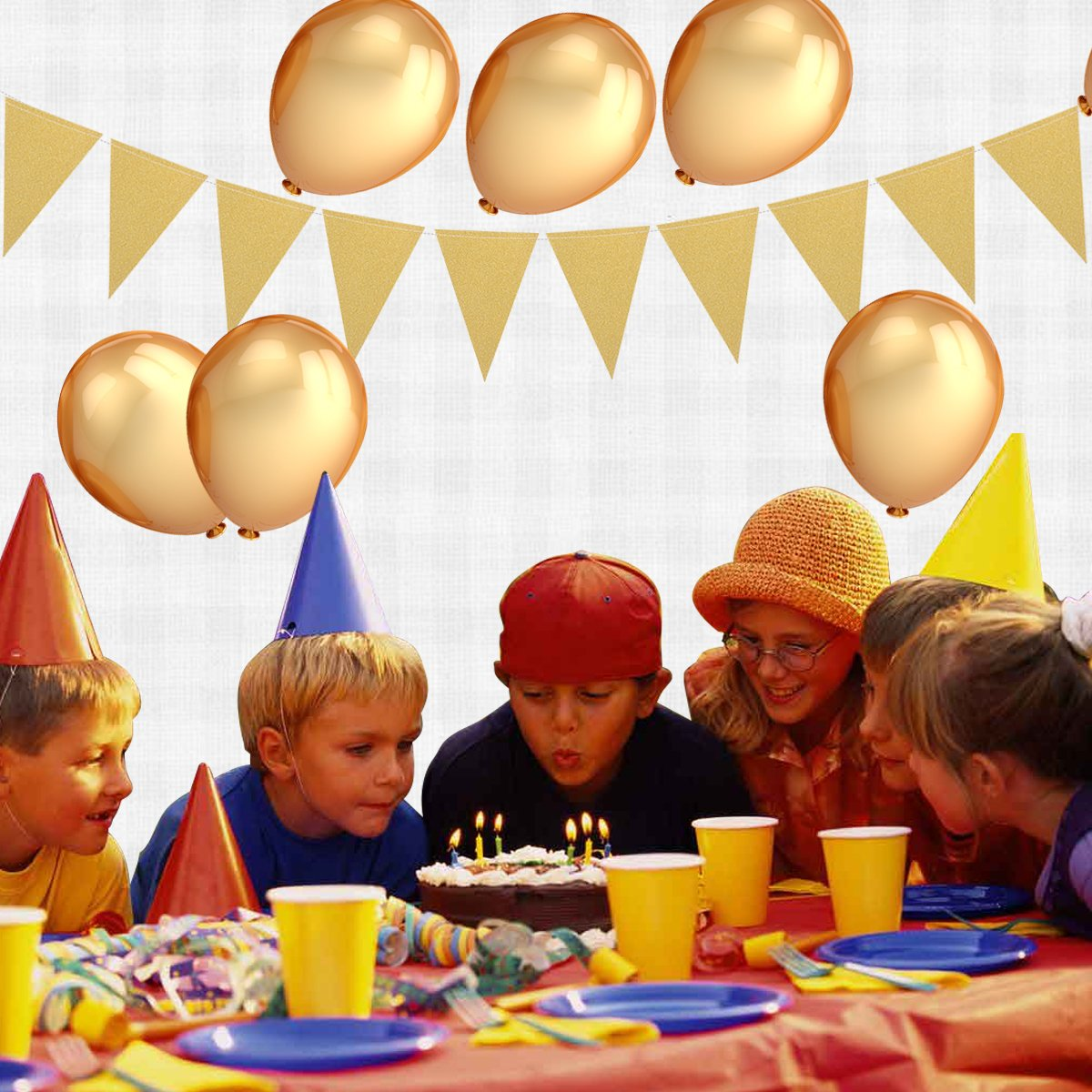 Gold Balloons Decorations ,100 Pcs 12 inches Gold Color Latex Party Balloons and Gold Paper Triangle Flags & Circle Dots and Twinkle Star Garland Hanging Decorations