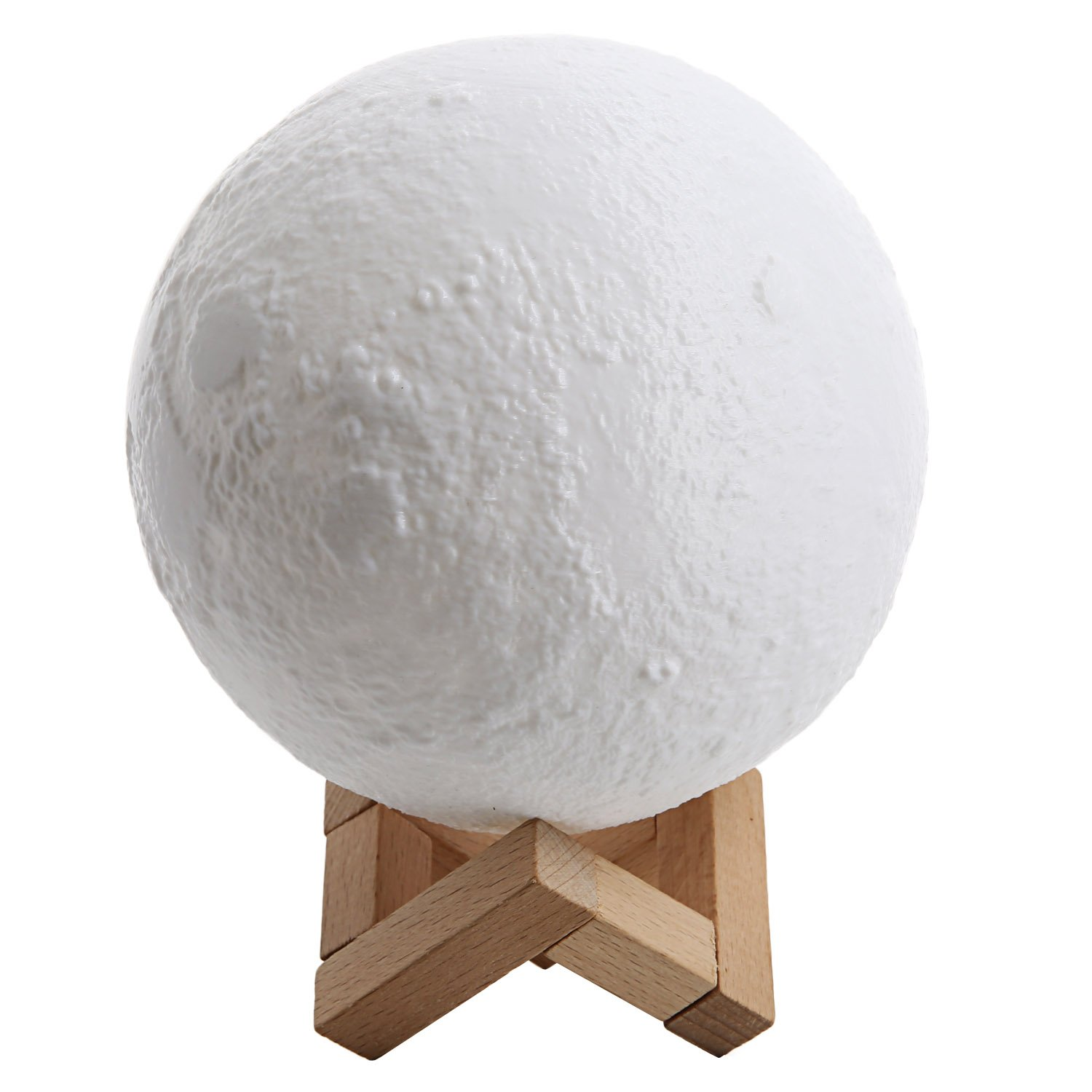 BATHWA Lighting 3D Printing Moon LED Lamp Touch Switch Lunar Night Light Rechargeable and Brightness Adjustable With Wooden Mount 5.9 Inch White