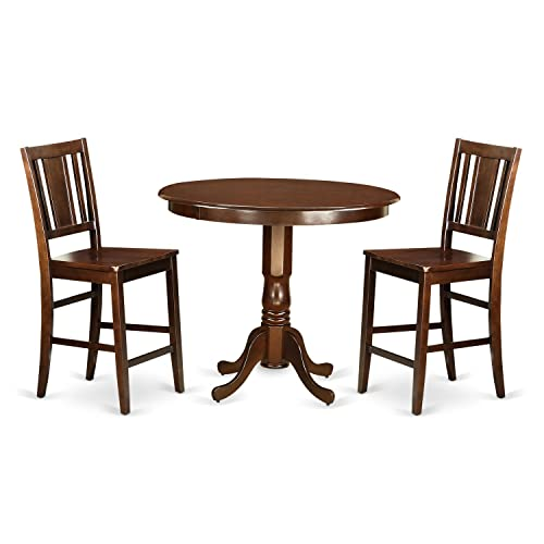TRBU3-MAH-W 3 Pc counter height Dining room set – Dinette Table and 2 Kitchen bar stool.