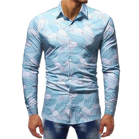 Blusa Impresa de la Manera del Hombre Camisas Ocasionales de Manga Larga Slim Tops por Internet