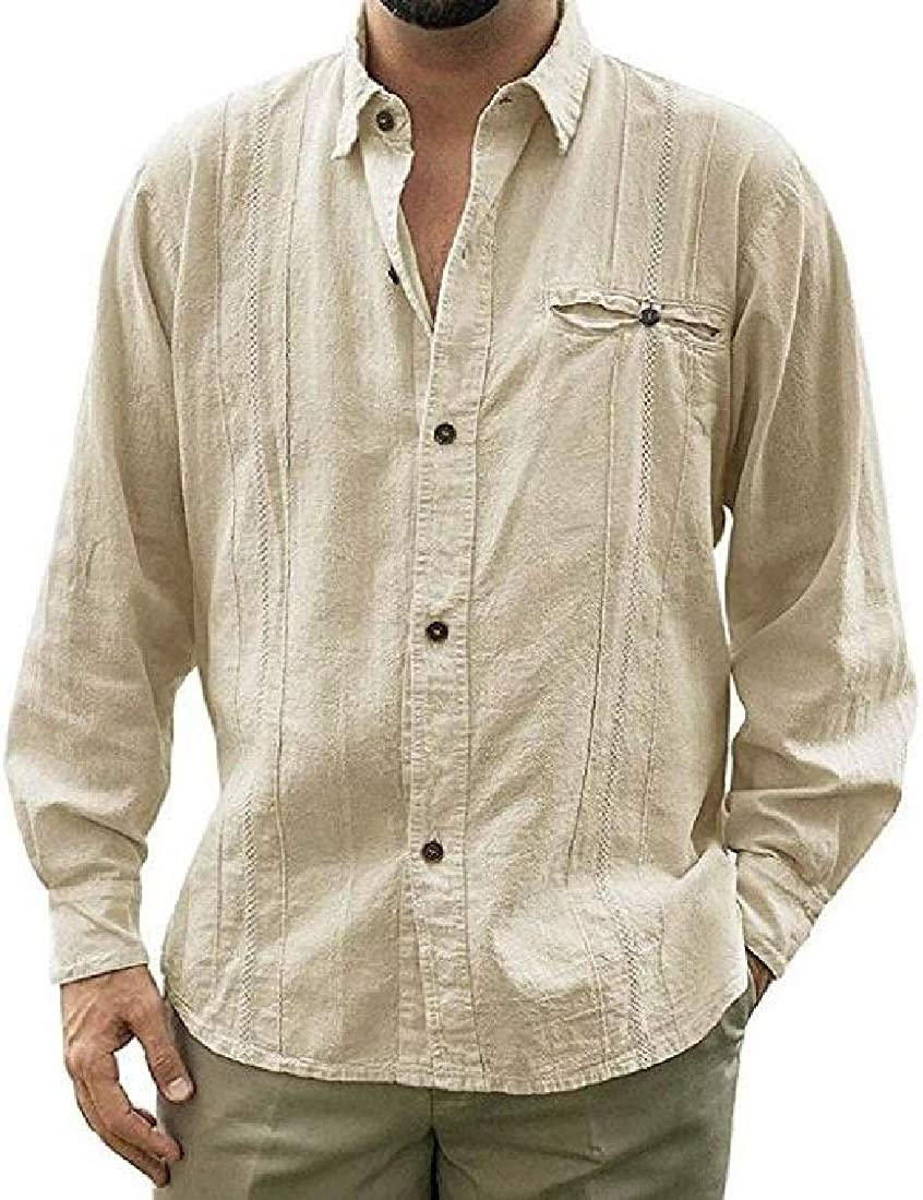 Rrive Mens Lapel Neck Long Sleeve Loose Solid Color Casual Button Down Shirt