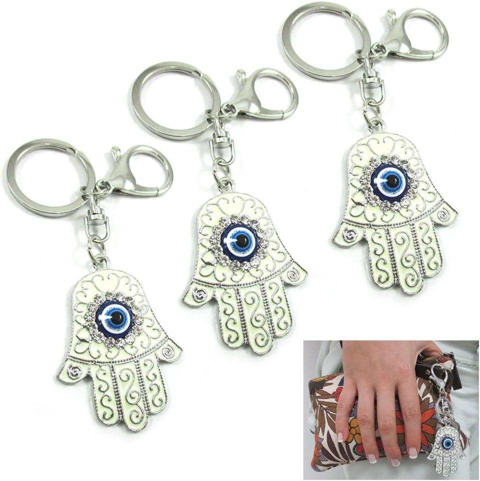 "4/"" Long 1/"" Glass Judaica Kabbalah Evil Eye Luck Charm Keychain"