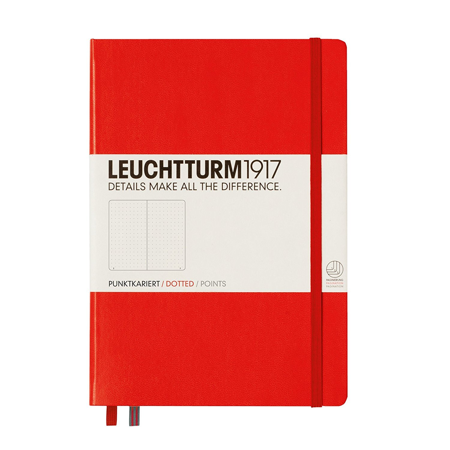 Leuchtturm1917 Medium Size Hardcover A5 Notebook - Dotted Pages, Red Cover