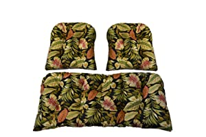 3 Piece Wicker Cushion Set - Indoor / Outdoor Twilight Black, Green, Burgundy Tropical Palm Leaf Cushion for Wicker Loveseat Settee & 2 Matching Chair Cushions