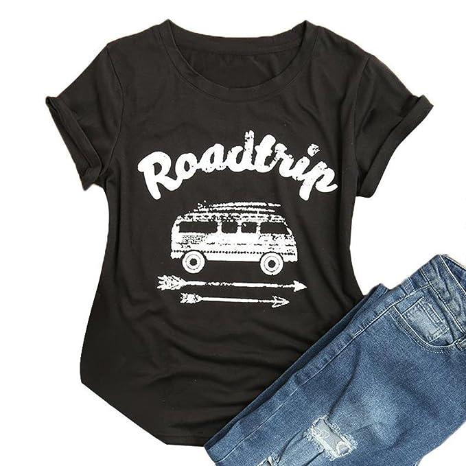 Vin beauty Roadtrip Print Mujeres de Moda Blusa Casual Camiseta Superior Camisas del trazador de Líneas