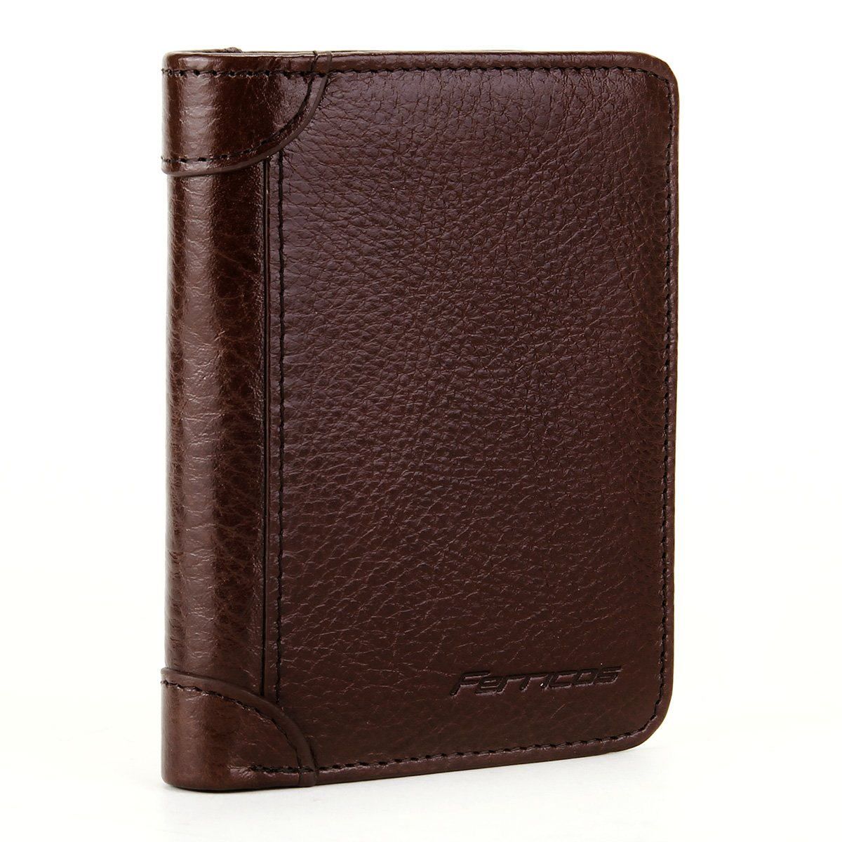 Ferricos RFID Men Cowhide Leather Portrait Short Purse Extra Capacity Trifold Inner Pocket Wallet Card Case Cash Coin Bag Money Clip ID Photo Holder Men's Gift Series 1 Coffee