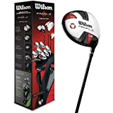 Wilson Beginner Complete Set, 11 golf clubs with stand bag, Men's (left hand) Profile VF, Black/Grey/Red, WGG157240
