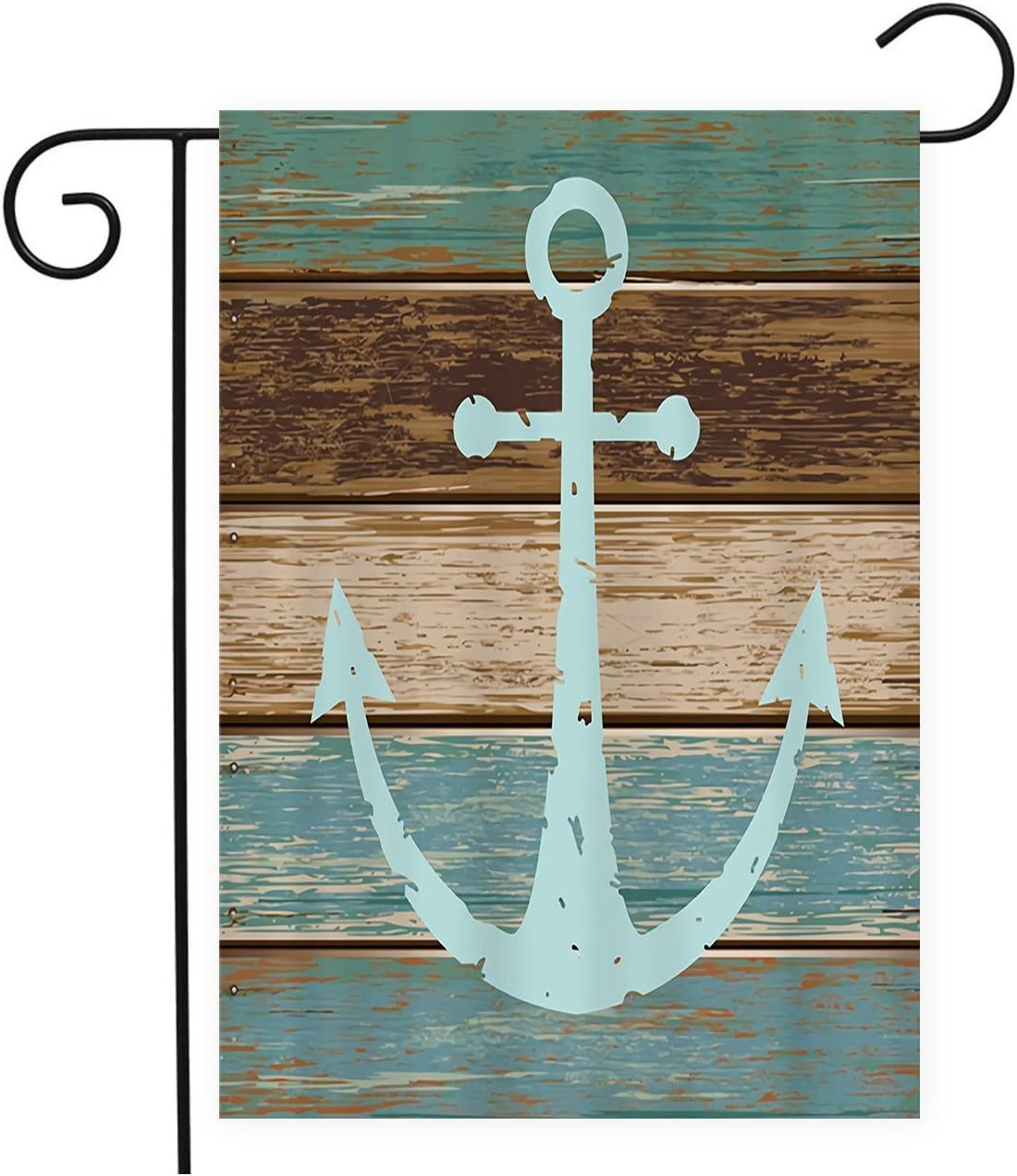 TweetyBed Garden Flag Nautical Anchor Vintage Wood Rustic Double-Sided Winter Seasonal Banner for Outdoor Party Wedding Yard Lawn Home, 100% Polyester 12