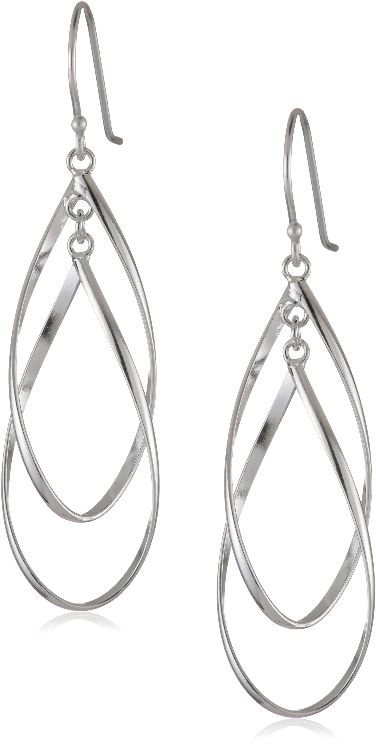 Sterling Silver Double Elongated Oval Twist French Wire Earrings by Amazon Collection