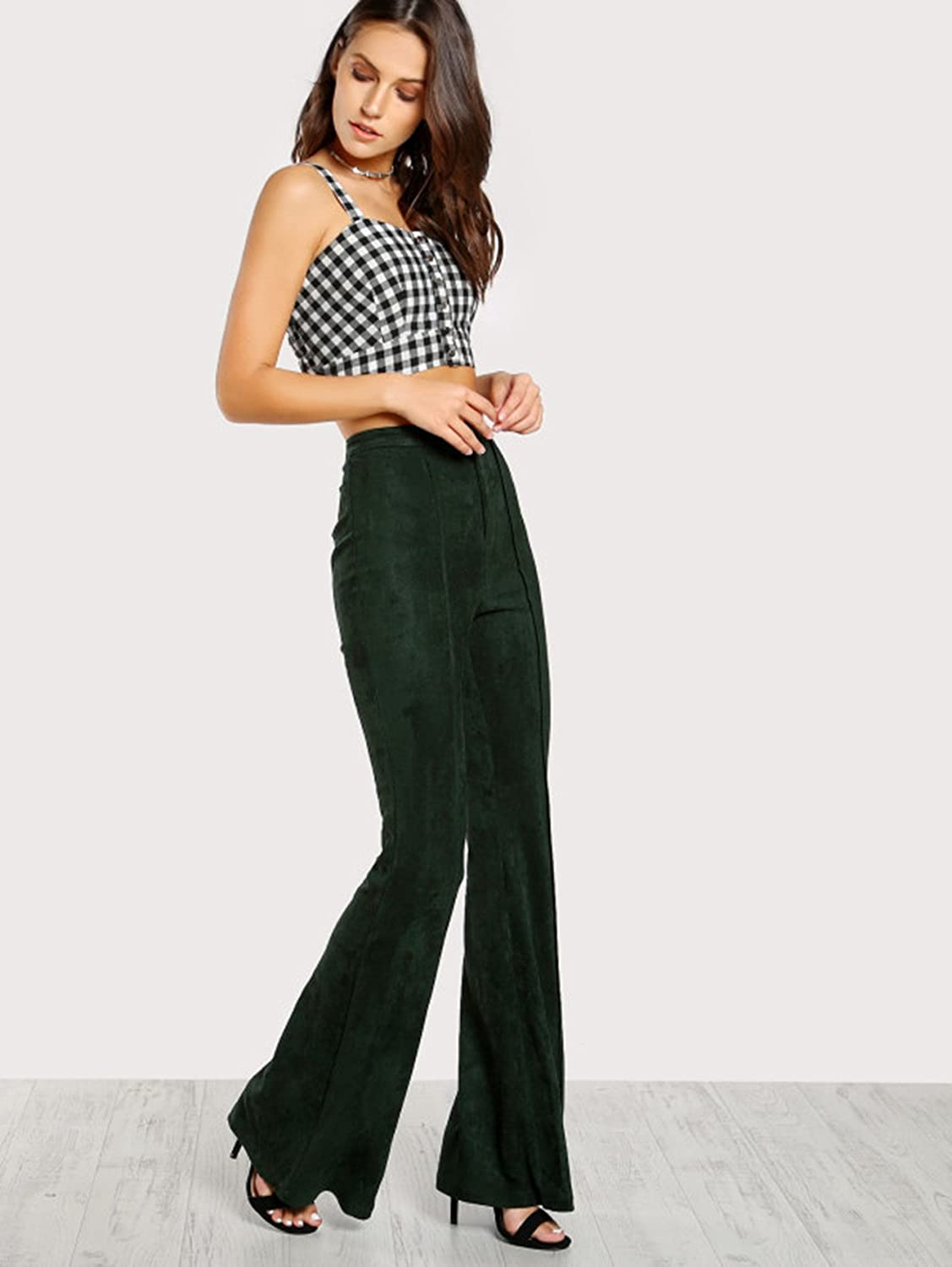 6c532d3b003201 MAKEMECHIC Women's Solid Flare Pants Stretchy Bell Bottom Trousers at  Amazon Women's Clothing store: