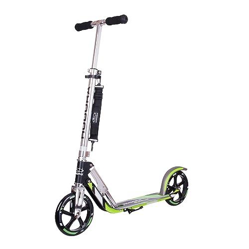 HUDORA 14695 Big Wheel GS 205 BigWheel 205-Das Original mit RX Pro Technologie-Tret-Roller klappbar-City-Scooter, schwarz/grün, One Size