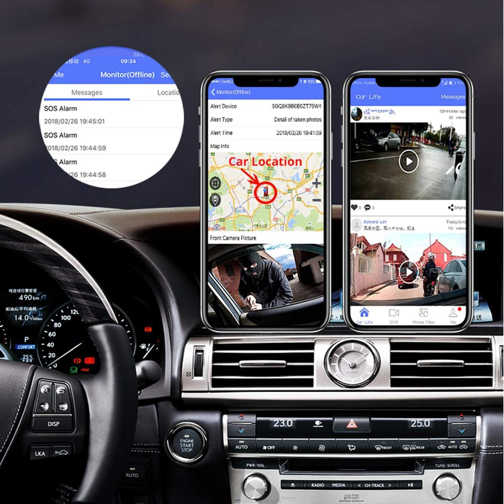 TOOGOO Camera de Vision Arriere Dvr /à Double Lentille IPS Fhd 1080P de Pression Plein Diffusion Multifonction 4G Android 10 Pouces de Voiture Enregistreur de Conduite Adas WiFi V9