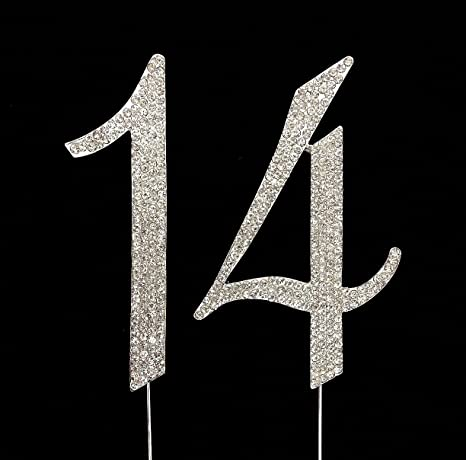 Amazon Large 14th Birthday Number Cake Topper With Sparkling Rhinestone Crystals