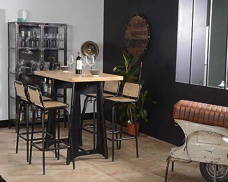 Los Angeles Table Haute Industrielle 120cm Metal Et Bois Meuble