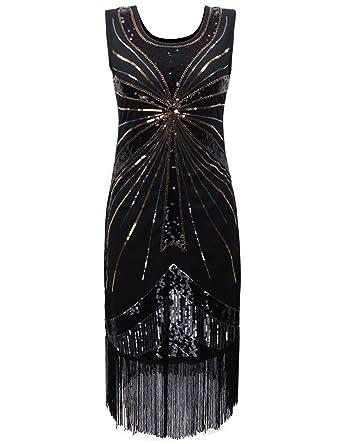PrettyGuide Damen 1920 Vintage-Perlen Sequin Feuerwerk mit Fransen ...