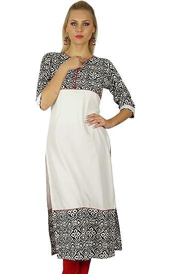 28f90029132f Bimba Women Indian Tunic 3 4 Sleeve Rayon custom Kurta Kurti Casual Summer  Top at Amazon Women s Clothing store