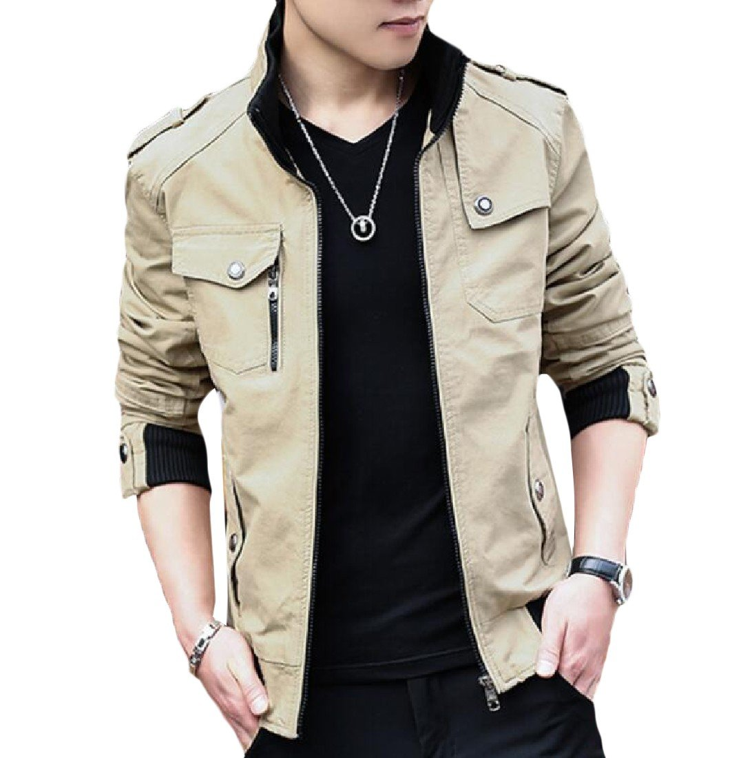 DoufineMen Doufine Men Cotton Bomber Jacket Stand Collar Washed Plus Size Outerwear Khaki M