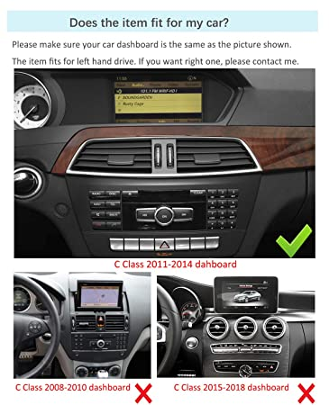 10 25 inch Car Touch Screen for Mercedes Benz C Class W204 2011-2013  NTG4 x, Quad Core 2GB RAM 32GB ROM HD GPS Navigation Radio Stereo Dash  Multimedia