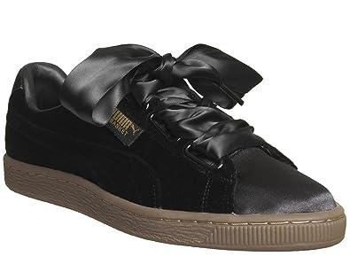 Leather Heart Basket Damen Puma Schuhe Wn's schwarz