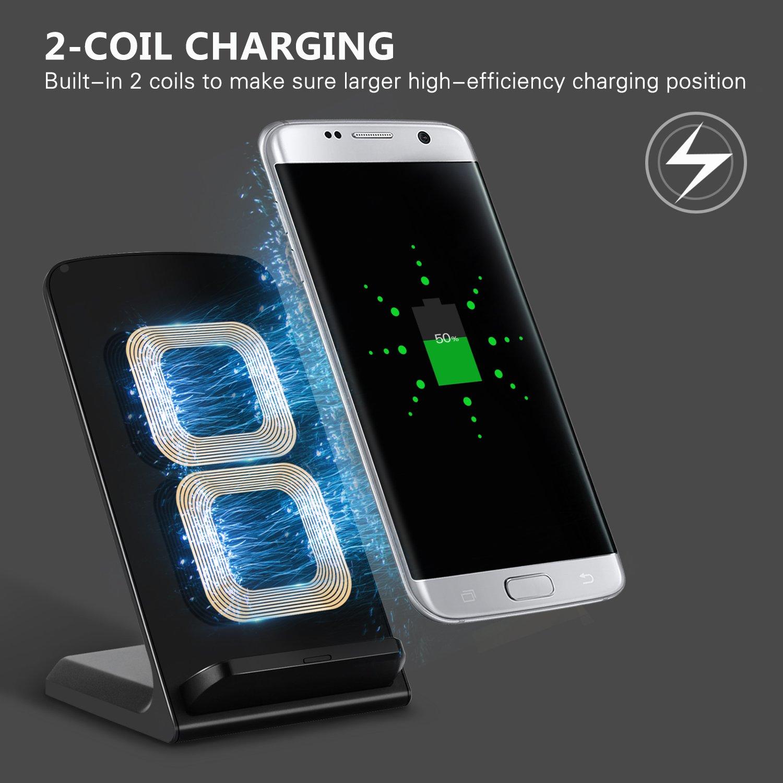 Moobom Fast Wireless Ladegerät, 2 Coil Qi Wireless Ladegerät für Samsung S7 / S7 Edge, S6 Edge Plus, Galaxy Note 5 und andere Qi-Enabled Geräte