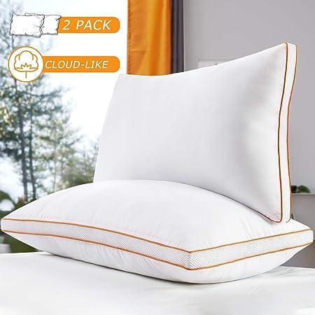 Maxzzz Almohadas Antiácaros Pack 2 Almohadas de Hotel 42x70 cm Almohadas Transpirable Firmeza Media con Suave Fibra 3D +Fibra de soporte 7D: Amazon.es: Hogar