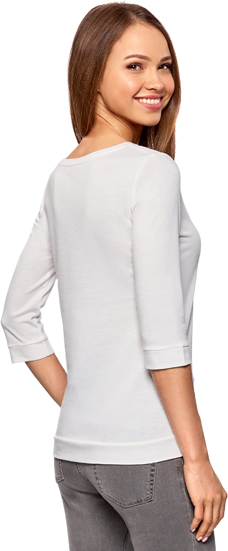 oodji Ultra Femme Sweat-Shirt Basique avec Manche 3//4