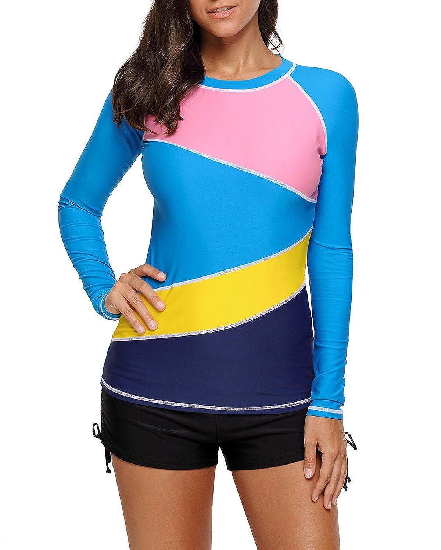 colorful EVALESS Women's Long Sleeve Sun Predection Splice Rashguard Swim Shirt Tops(SXXXL)