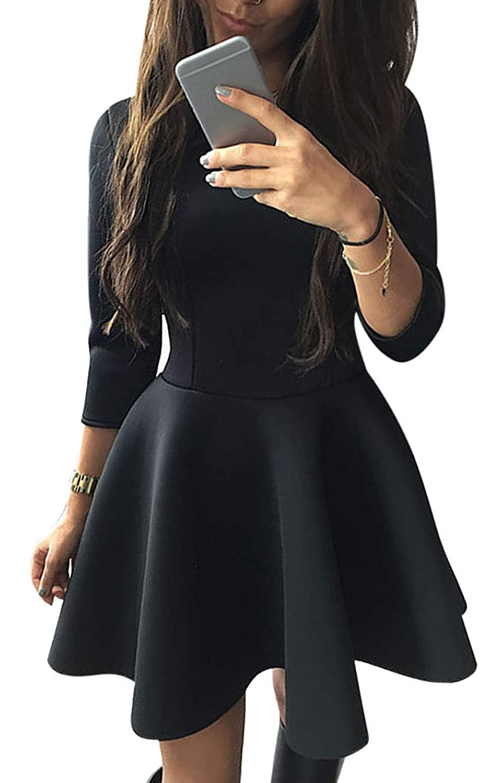 CRAVOG Damen Sexy Kleider Partykleid Abendkleider O-Neck Cocktailkleider
