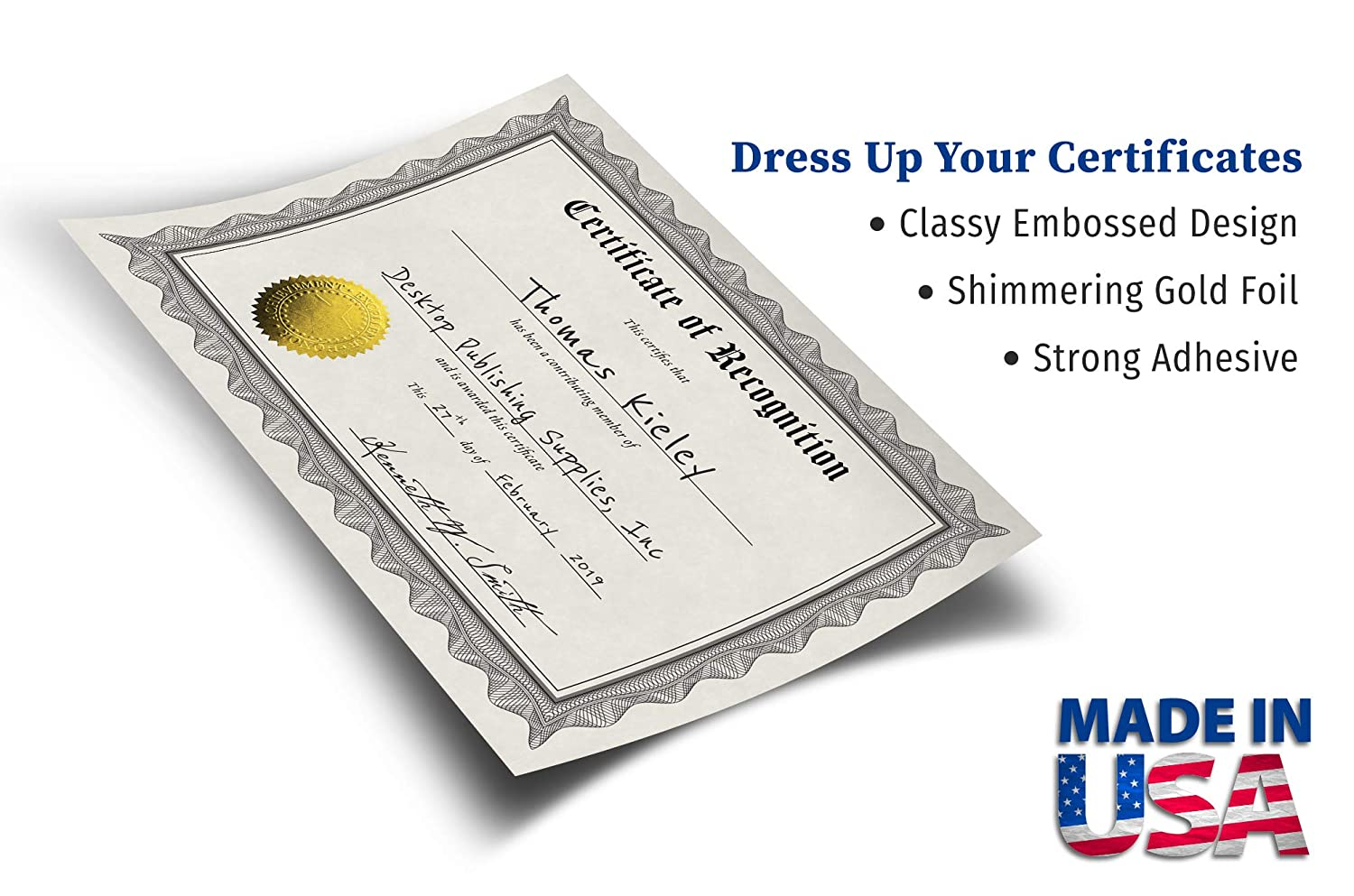 Embossed Gold Foil Award Certificate Seals 100 Pack 2 Diameter Achievement Excellence Honor