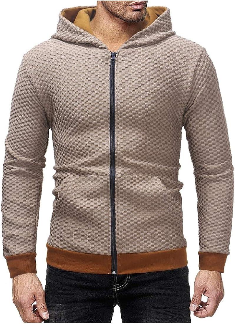 Abetteric Men Zip-up Plaid Long Sleeve Hood Outwear Cardigan Tracksuit Top