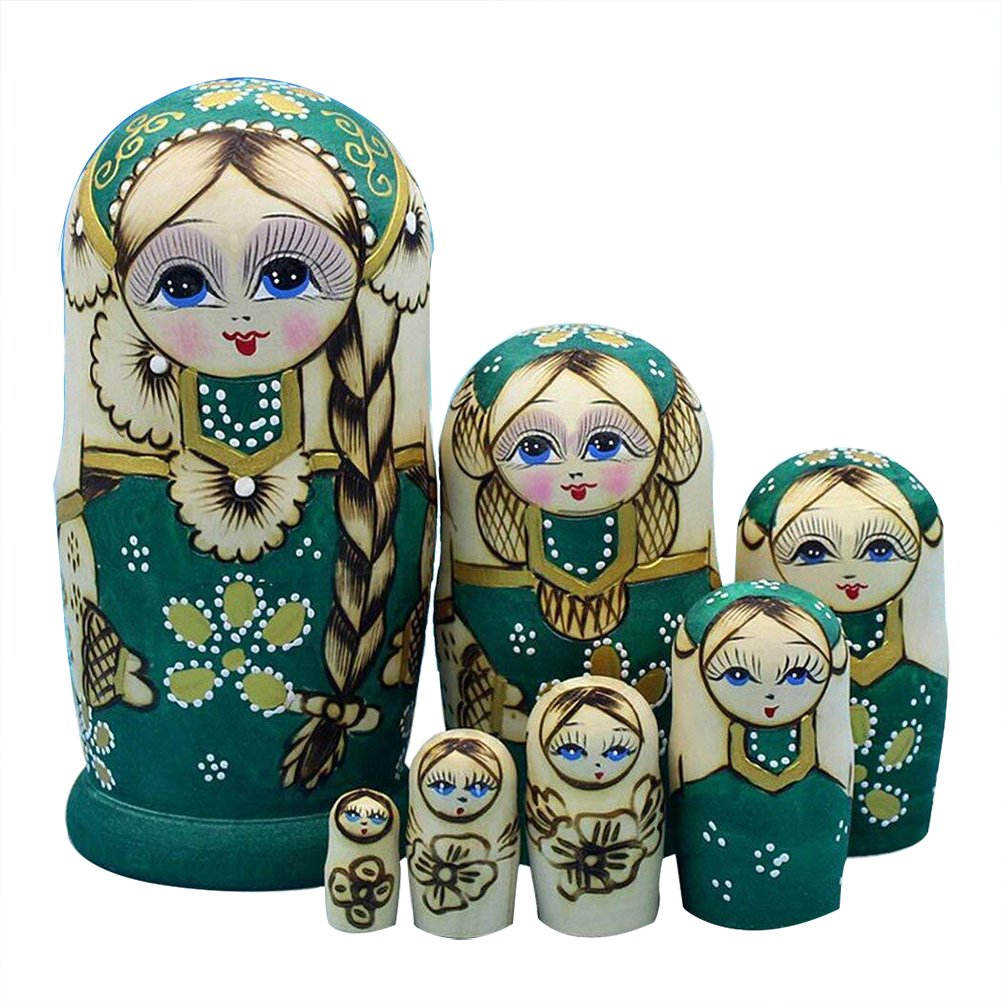 Lakerom 7pcs Russia Nesting Dolls Gift Russian Nesting Decoration Halloween Wishing Gift LRKDTW7006-Green
