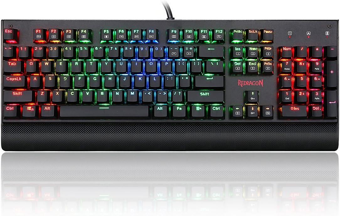 Redragon RGB Gaming Mec/ánica Teclado QWERTY con iluminaci/ón LED 104/Teclas con Cable USB para PC Laptop K557 Intercambiables