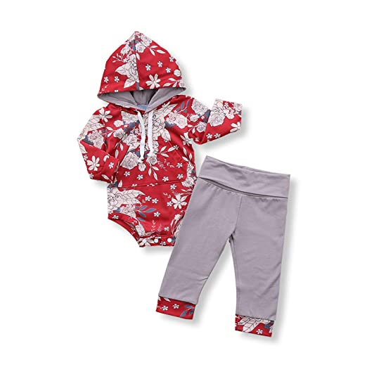 c45d3bcf Unmega Infant Baby Girl Flower Print Long Sleeve Hoodie Romper + Long Pants  2 Pieces Hooded