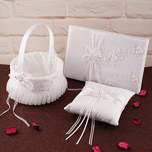 WEDDING CEREMONY SATIN FLOWER GIRL BASKET WITH EMBROIDERED FLOWERS /& RHINESTONES