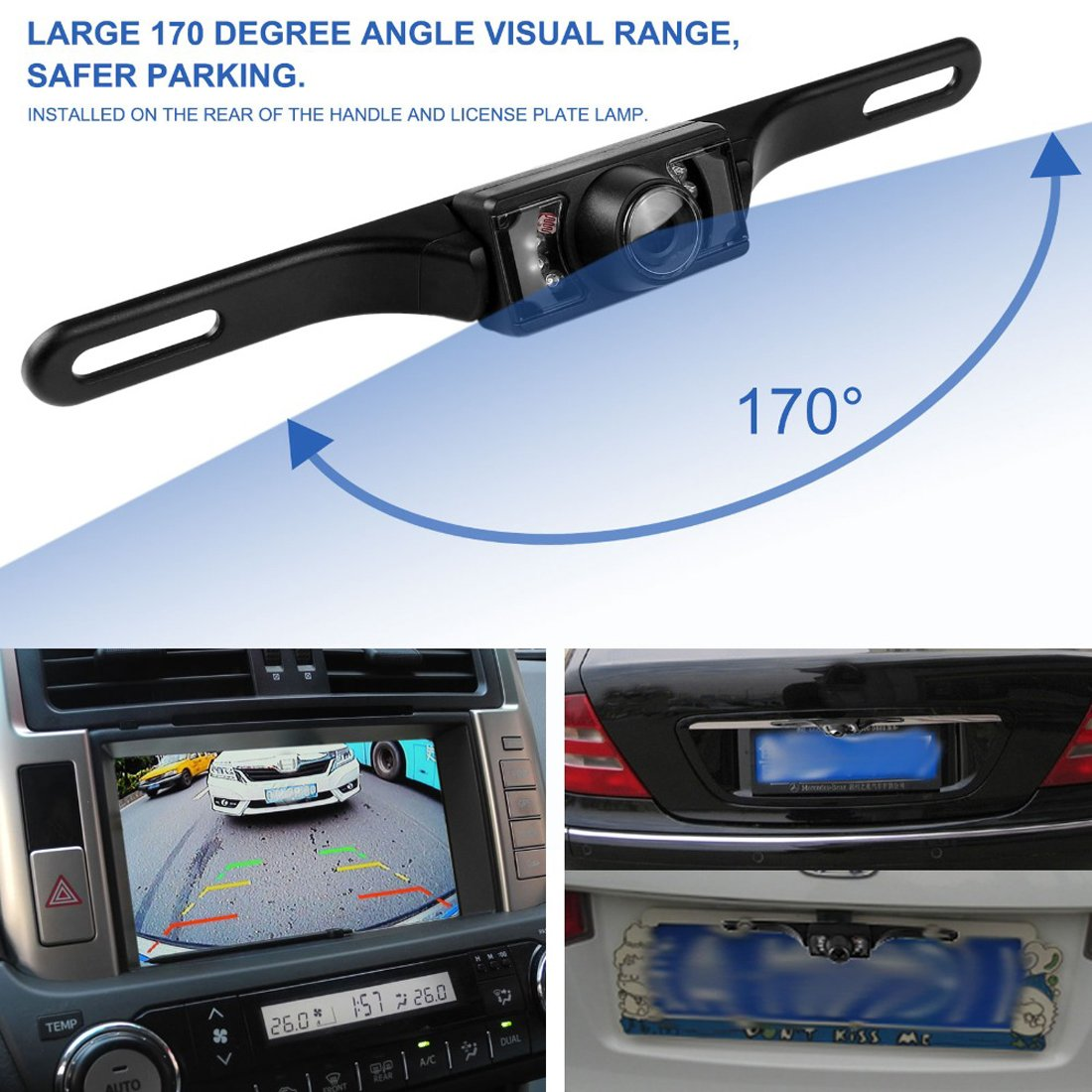 Rear View Camera Wgia Waterproof Backup License Plcm18bc Wiring Diagram Plate Car Reverse Parking High Definition Color Wide Viewing Angle Night Vision