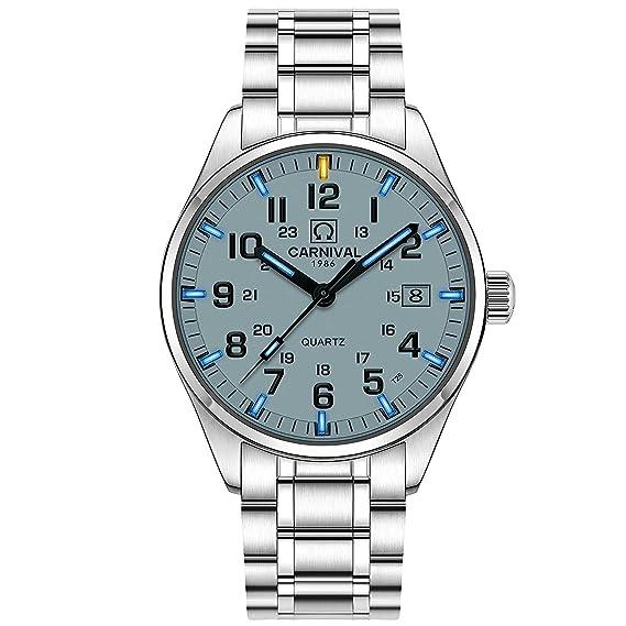 Los hombres de tritio reloj luz azul natación cristal de zafiro Acero inoxidable Analog Cuarzo Relojes