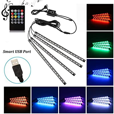 Car LED Strip Light, Uniwit 4 Pcs Multicolor Music Car Interior Atmosphere Lights for Car TV Home with Sound Active Function, Wireless Remote Control and Smart USB Port (48 LED-USB Port): Car Electronics