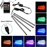 Car LED Strip Light, Uniwit 4 Pcs Multicolor Music Car Interior Atmosphere USB Lights for Car TV Home with Sound Active…