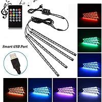 Car LED Strip Light, Uniwit 4 Pcs Multicolor Music Car Interior Atmosphere USB Lights for Car TV Home with Sound Active…