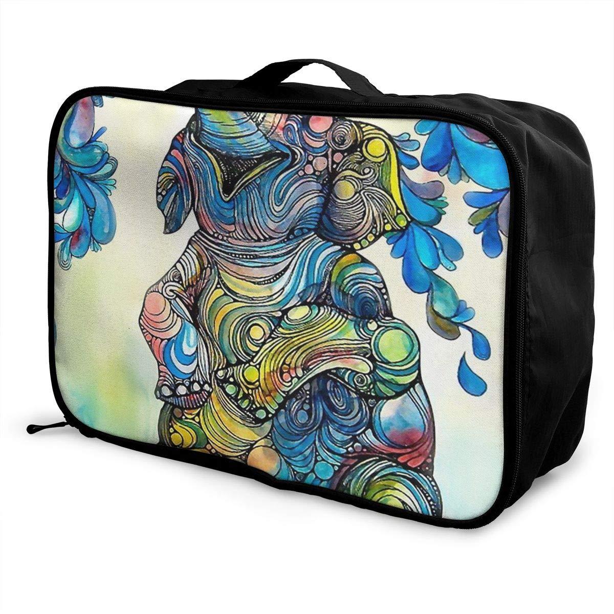 ADGAI Elephant Coloful Canvas Travel Weekender Bag,Fashion Custom Lightweight Large Capacity Portable Luggage Bag,Suitcase Trolley Bag