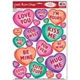 Candy Heart Clings Party Accessory (1 count) (23/Sh)