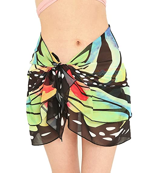 ac232e619a Double Layer Women Butterfly Wing Chiffon Beach Wrap Swimsuit Scarf Cover  Up For Vacation (Black