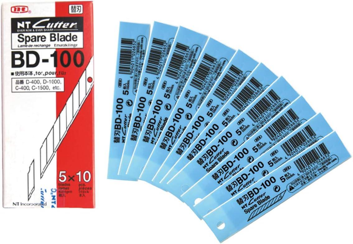 PACK 50 Cuchillas Biseladas 9 MM Angulo 30º Grados - Hojas Recambios para Cuter Estrecho NT CUTTER BD-100: Amazon.es: Oficina y papelería