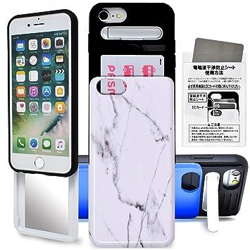 825810b3ad iPhone6 iPhone7 iPhone8 スライド バンパー ケース カバー カード収納 鏡 ミラー タフケース 耐衝撃 スタンド機能