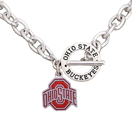 new arrivals 7737a bced8 Sports Accessory Store Ohio State Buckeyes Team Name Toggle Silver Necklace  Red Charm Jewelry OSU